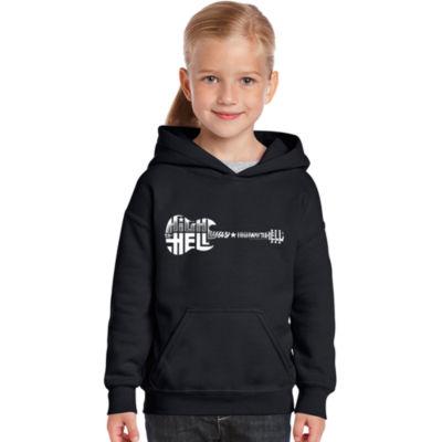Los Angeles Pop Art Girl's Word Art Hooded Sweatshirt - Highway to Hell