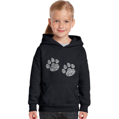 Los Angeles Pop Art Girl's Word Art Hooded Sweatshirt - Meow Cat Prints
