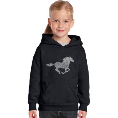 Los Angeles Pop Art Girl's Word Art Hooded Sweatshirt - Horse Breeds