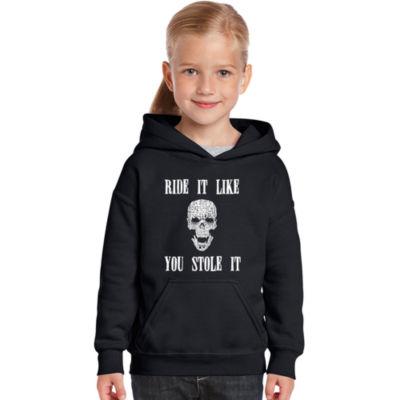 Los Angeles Pop Art Girl's Word Art Hooded Sweatshirt - Ride It Like You Stole It