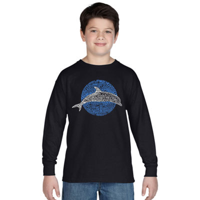 Los Angeles Pop Art Boy's Word Art Long Sleeve - Species of Dolphin