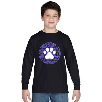 Los Angeles Pop Art Boy's Word Art Long Sleeve - Gandhi's Quote on Animal Treatment