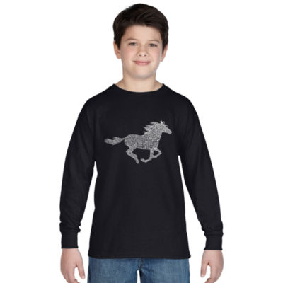 Los Angeles Pop Art Boy's Word Art Long Sleeve - Horse Breeds