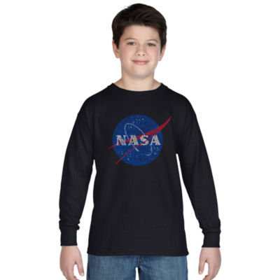Los Angeles Pop Art Boy's Word Art Long Sleeve - NASA's Most Notable Missions