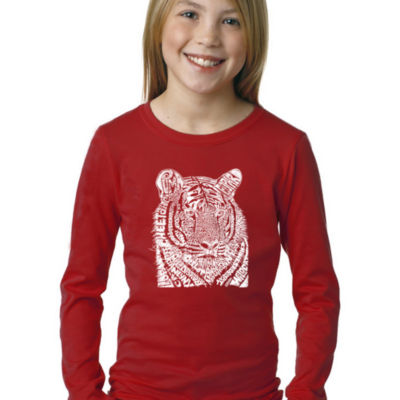 Los Angeles Pop Art Girl's Word Art Long Sleeve -Big Cats