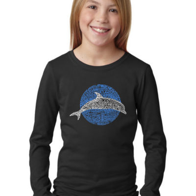 Los Angeles Pop Art Girl's Word Art Long Sleeve -Species of Dolphin