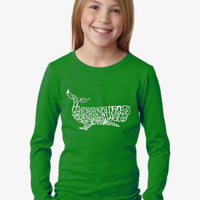 Los Angeles Pop Art Girl's Word Art Long Sleeve -Humpbk