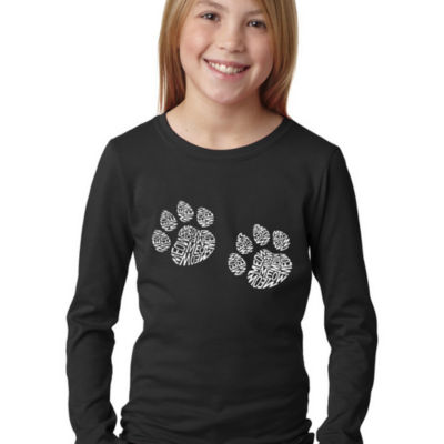 Los Angeles Pop Art Girl's Word Art Long Sleeve -Meow Cat Prints