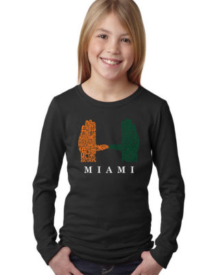 Los Angeles Pop Art Girl's Word Art Long Sleeve -Miami Hurricanes Hand Symbol