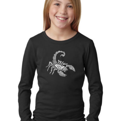 Los Angeles Pop Art Girl's Word Art Long Sleeve -Types of Scorpions