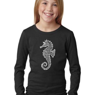 Los Angeles Pop Art Girl's Word Art Long Sleeve -Types of Seahorse