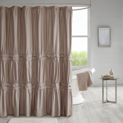 510 Design Denice Embroidery Pieced Lined Shower Curtain