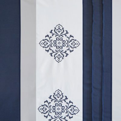 510 Design Donetta Embroidery Pieced Lined Shower Curtain