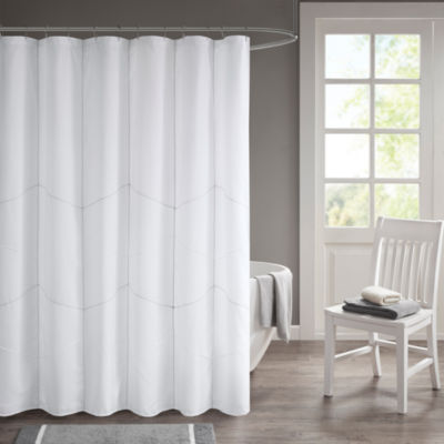 510 Design Talley Embroidery Pieced Lined Shower Curtain