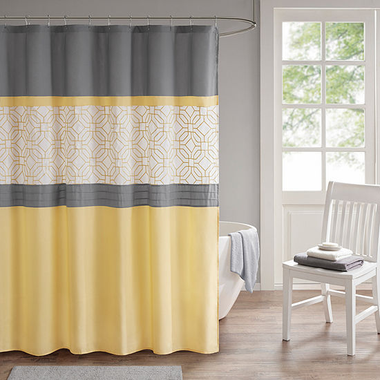 sharp bathroom window coverings | 510 Design Shane Embroidery Pieced Lined Shower Curtain ...
