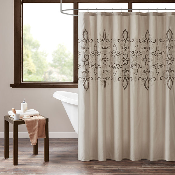 510 Design Salvan Embroidery Pieced Lined Shower Curtain