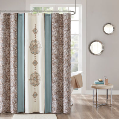 510 Design Marlena Embroidery Printed Lined Shower Curtain