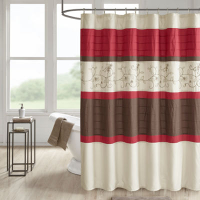 510 Design Lecia Pieced Embroidery Pintuck Lined Shower Curtain