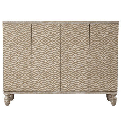 Modern Heavily Distressed Oak Finish 4-Door Credenza
