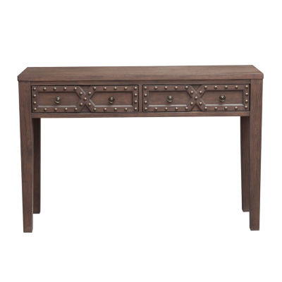 Traditional Wire Brushed Distressed Acacia 2-Door Accent Storage Console Table