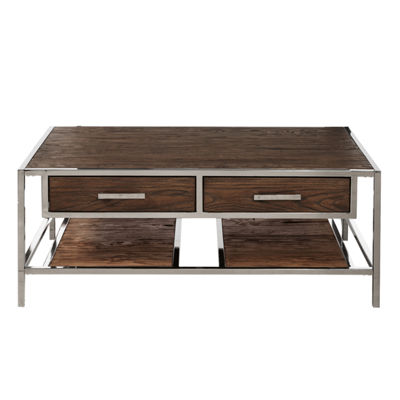 Modern Industrial Style Wood and Metal Cocktail Table