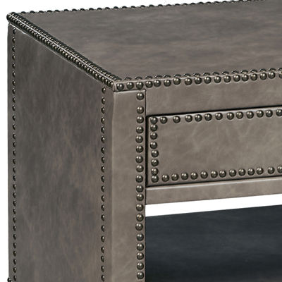 Industrial Style Square Faux Leather Trunk Table