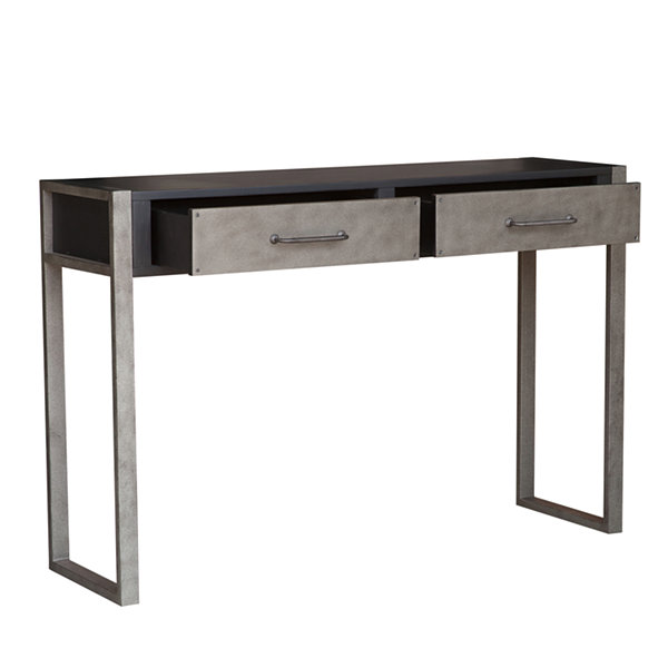 Industrial Distressed Birch 2-Drawer Accent Storage Console Table