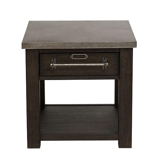 Metal Top Oak Side Table