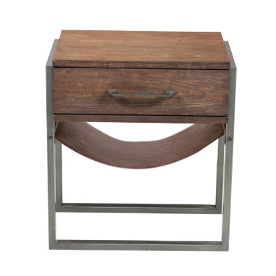 Industrial Style Acacia Wood Side Table