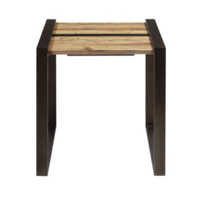 Reclaimed Wood and Metal End Table