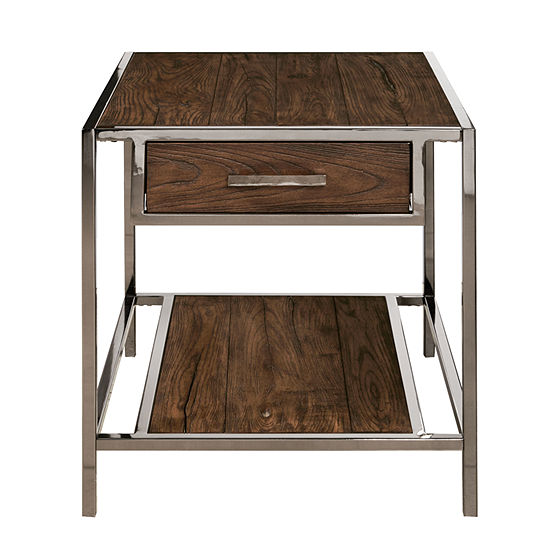 Modern Industrial Style Wood and Metal End Table