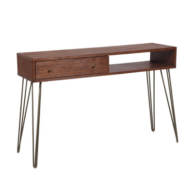 Mid-Century Modern Walnut Brushed Acacia 1-Drawer Accent Storage Console Table