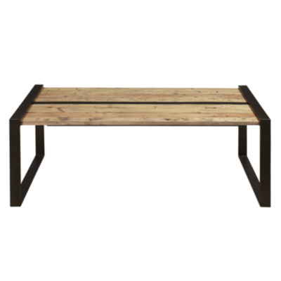 Reclaimed Wood and Metal Cocktail Table