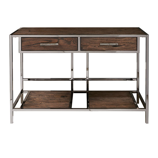 Modern Industrial Style Wood and Metal Sofa Table