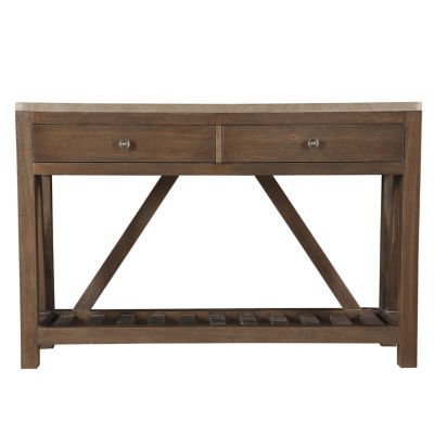 Farmhouse Style Oak and Metal Wrapped 2-Drawer Accent Console Table