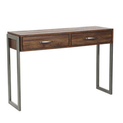 Heavily Distressed Industrial Style 2-Drawer Accent Storage Console Table