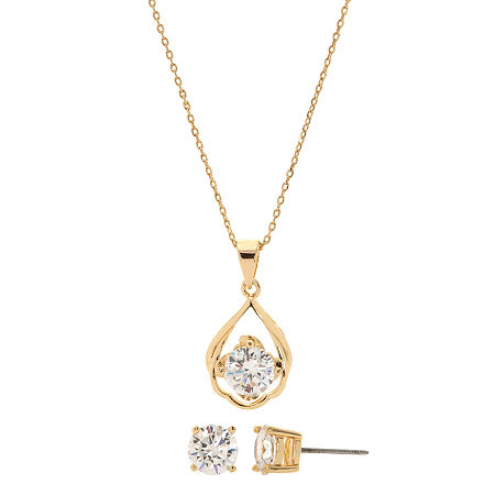 Sparkle Allure 3-pc. Cubic Zirconia 14K Gold Over Brass Jewelry Set, One Size , No Color Family - 05814350018