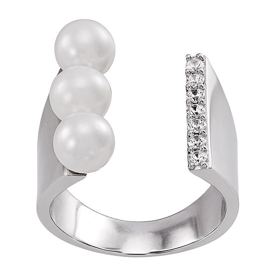 Honora Legacy Womens 6MM White Cultured Freshwater Pearl Sterling Silver Cocktail Ring