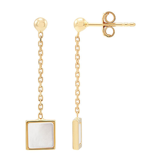LIMITED QUANTITIES! Honora Legacy White 14K Gold Sterling Silver Square Drop Earrings
