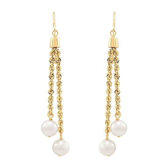 LIMITED QUANTITIES! Honora Legacy White Cultured Freshwater Pearl 10K Gold Sterling Silver Round Drop Earrings