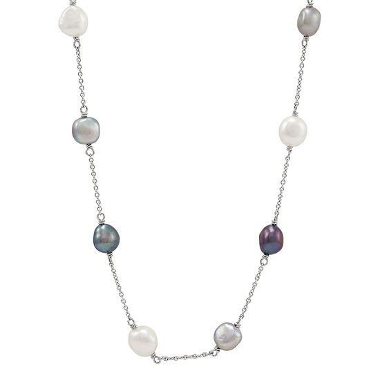 LIMITED QUANTITIES! Honora Legacy Womens 36 Inch Multi Color Sterling Silver Link Necklace