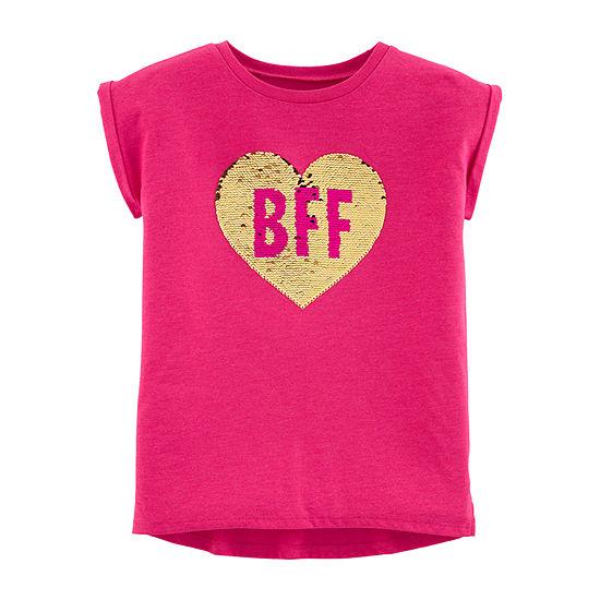Carter's Girls Crew Neck Short Sleeve Graphic T-Shirt - Preschool / Big Kid
