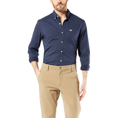 Dockers Comfort Flex Stretch Mens Long Sleeve Geometric Button-Front Shirt