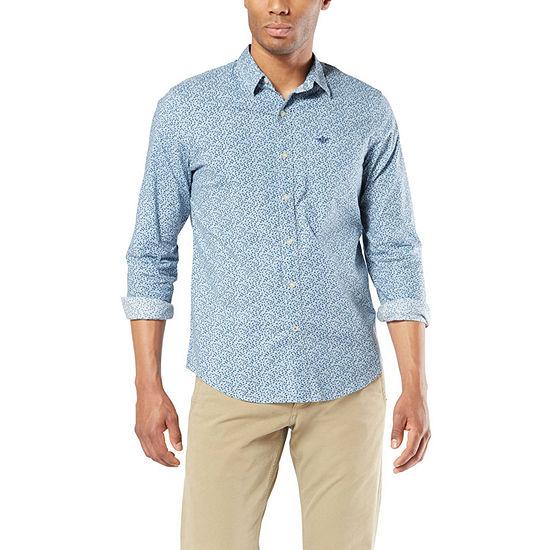 Dockers Supreme Flex Mens Long Sleeve Plaid Button-Down Shirt