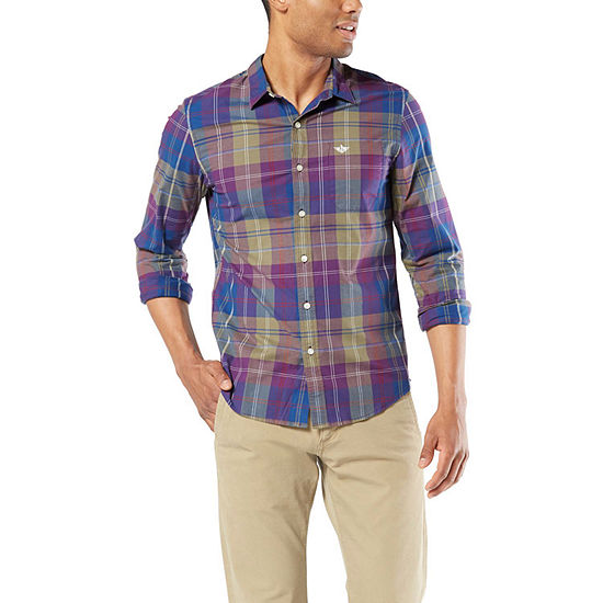 Dockers Supreme Flex Mens Long Sleeve Plaid Button-Front Shirt