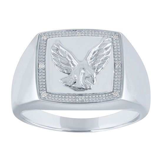 Mens Genuine White Diamond Sterling Silver Fashion Ring