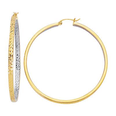 14K Two Tone Gold 54mm Hoop Earrings