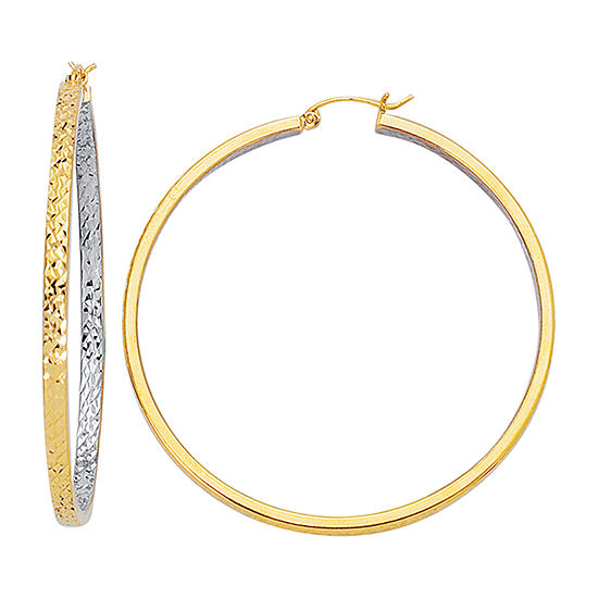 14K Two Tone Gold 54mm Hoop Earrings