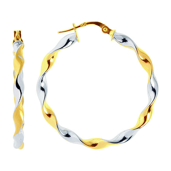 14k Two Tone Gold 325mm Hoop Earrings