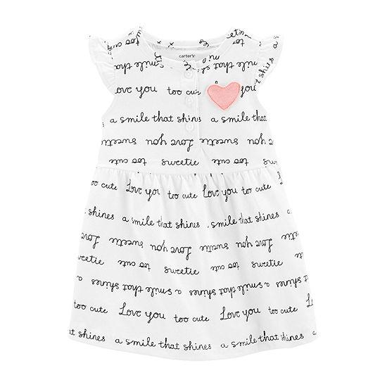 Carter's Girls Sleeveless Flutter Sleeve A-Line Dress - Baby